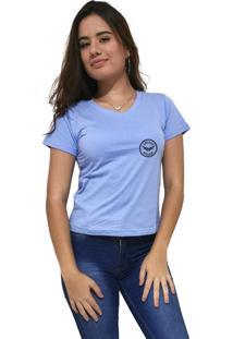 Camiseta Feminina Gola V Cellos Seal Premium Azul Claro