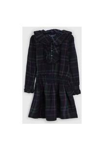 Vestido Polo Ralph Lauren Infantil Xadrez Azul-Marinho/Roxo