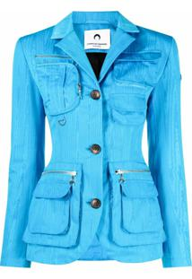 Marine Serre Textured Moire-Fabric Safari Jacket - Azul