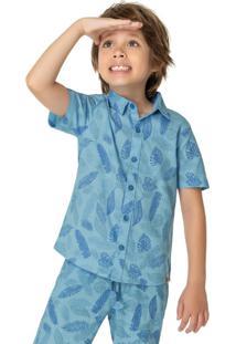 Camisa Azul Folhagem Em Linho Menino