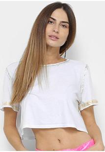 Camiseta Lança Perfume Cropped Estonada Feminina - Feminino-Branco
