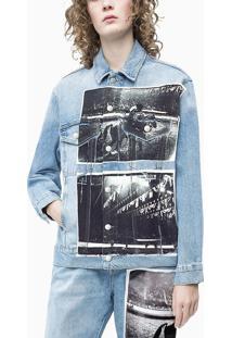 Jaqueta Jeans Feminina Andy Warhol Rodeo Azul Claro Calvin Klein - M
