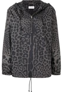 Saint Laurent Leopard Print Hooded Bomber - Cinza