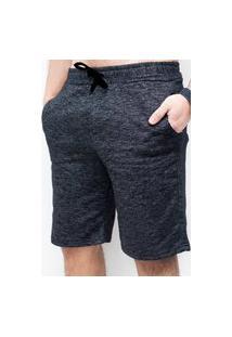 Bermuda Moletom Masculina Suffix Efeito Jeans Preto