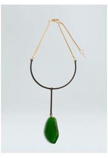 Colar Glass-Preto/Ouro/Verde
