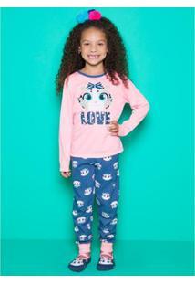 5691d0aa0 Pijama Infantil Puket Manga Longa Oncinha Feminina - Feminino-Rosa+Azul
