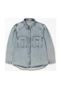 Camisa Jeans Marmorizada Com Mangas Bufantes Curve & Plus Size   Ashua Curve E Plus Size   Blue Jeans Medio   G
