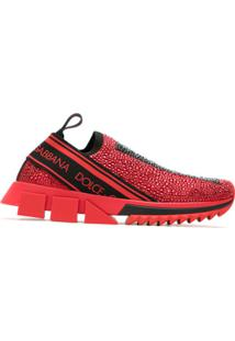 Dolce & Gabbana Tênis Slip On Com Strass - Vermelho