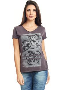 Camiseta Bossa Brasil Wild Rose Bordo Marmorizado