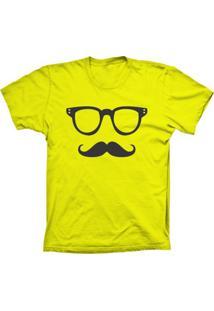 Camiseta Baby Look Lu Geek Mustache Amarelo