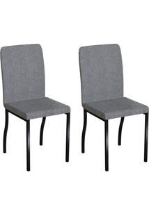 Conjunto Com 2 Cadeiras Napier Cinza E Preto