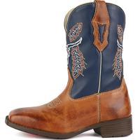 d5602c63a9fdd Bota Country Sapatofran Texana Bico Quadrado Cara De Boi Marinho