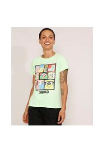 "Camiseta Feminina Manga Curta Bob Esponja ""Squad"" Decote Redondo Verde Claro"
