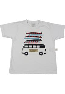 Camiseta Ano Zero Infantil Meia Malha Kombi E Pranchas - Branco 3