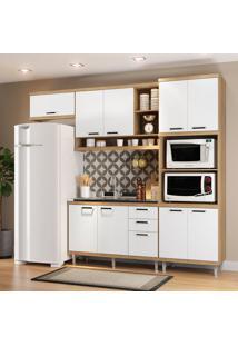 Cozinha Compacta Sicília Sem Tampo 9 Portas Argila/Branco - Multimóveis