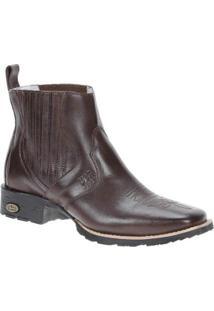 Bota Couro Western Via Boots Masculino - Masculino-Marrom