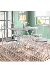 Conjunto De Mesa Miame Com 4 Cadeiras Lisboa Branco Prata E Listrado