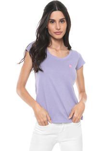 Camiseta Polo Wear Básica Logo Lilás