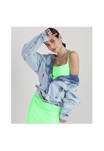 Jaqueta Jeans Biker Feminina Com Cinto Azul Claro
