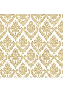 Papel De Parede Arabesco- Dourado & Branco- 300X0,58Jmi Decor