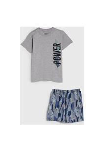 Pijama Elian Curto Infantil Lettering Cinza/Azul