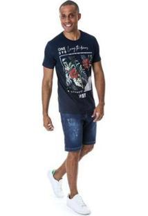Bermuda Jeans Estonada Azul - Masculino-Azul