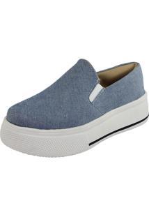 Slipper Fanuella Calçados Sola Alta Jeans Delavê