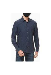 Camisa Ml Slim Geneva Liso Black - Azul Marinho