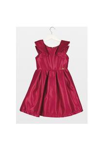 Vestido Laureh Cetim Turquia Vermelho
