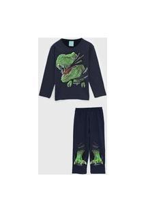Pijama Kyly Longo Infantil Dinossauro Azul