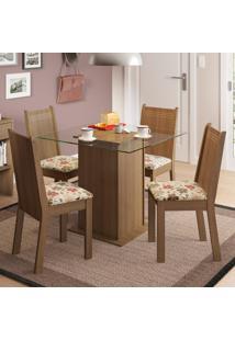 Conjunto Sala De Jantar Madesa Lucy Mesa Tampo De Vidro Com 4 Cadeiras Marrom - Tricae