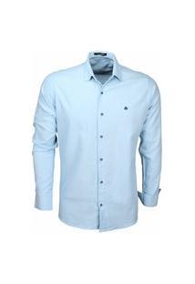 Camisa Social Masculina By For Men Viscolinho 2176 Azul Bebe