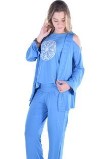Casaco Vivazen Nervuras Azul