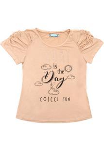 Camiseta Colcci Fun Manga Curta Menina Bege