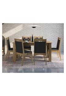 Conjunto Mesa Extensível Com 6 Cadeiras Móveis Canção Fosco