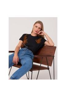 Amaro Feminino T-Shirt Viscolycra Flocado Floral Duplo, Preto