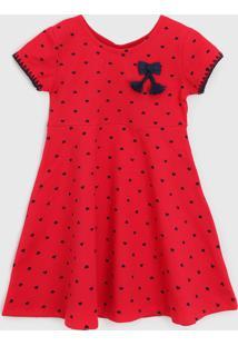 Vestido Kyly Infantil Poá Vermelho