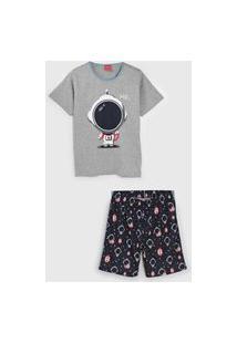Pijama Tricae Curto Infantil Astronauta Cinza/Azul-Marinho