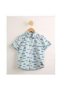 Camisa Infantil De Algodão Mini Print Com Bolso Manga Curta Azul Claro