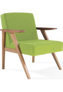Poltrona Design De Madeira Estofada Com Braços Verde Théo - Verniz Amendoa \ Tec.942 - 63X71X83 Cm