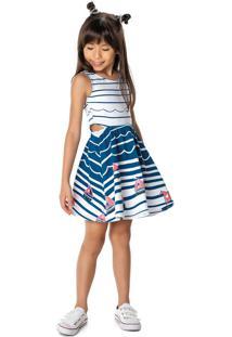 Vestido Evasê Recortes Laterais Menina Malwee Kids