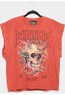 Camiseta Colcci Caveira Sleeveless Feminina - Feminino-Vermelho