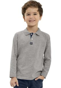 Camisa Polo Manga Longa Cinza