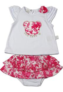 Conjunto Bebê Cotton E Cetim Estampado Digital Ur - Feminino-Pink