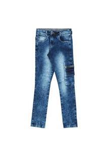 Calça Jeans Cargo Juvenil Menino Lavagem Clara Estonada Jeans