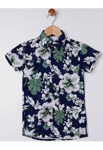 Camisa Manga Curta Infantil Para Menino - Azul Marinho/Verde