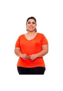T-Shirt Justa Almaria Plus Size Mais Na Moda Decote V Laranja