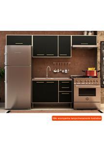 Cozinha Compacta Vitória Ii 7 Pt 3 Gv Preta E Creme