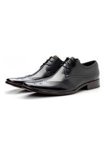 Sapato Social Masculino Bico Fino Com Detalhe Pontilhado Confort