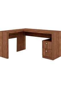 Mesa Para Escritório 2 Gavetas Me4129 Nogal - Tecno Mobili
